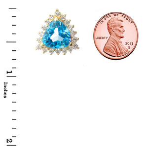 Chic Diamond & Trillion Cut Blue Topaz Pendant Necklace in  14K Yellow Gold