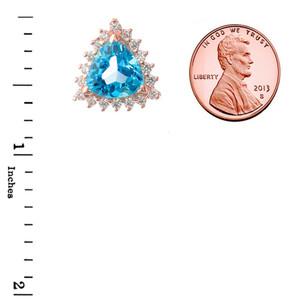 Chic CZ & Trillion Cut Blue Topaz Pendant Necklace in  14K Rose Gold