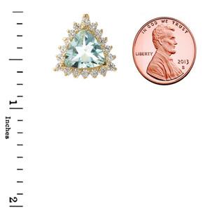 Chic Diamond & Trillion Cut Genuine Aquamarine Pendant Necklace  in 14K Yellow Gold