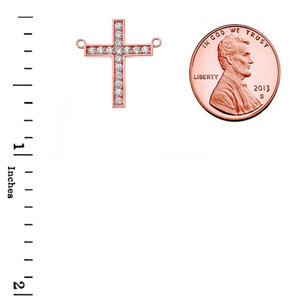 Chic Diamond Cross Necklace in 14K Rose Gold