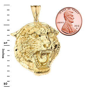 Bold Jaguar Statement Pendant Necklace in Yellow Gold (Large)