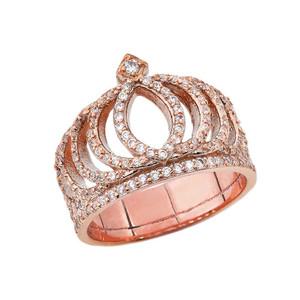 CZ Royal Crown Ring in Rose Gold