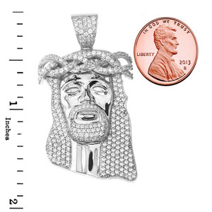 "Cubic Zirconia Jesus Pendant Necklace (1.8"") in White Gold"