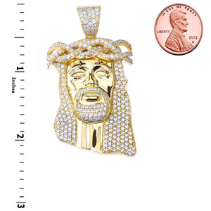 "Diamond Jesus Pendant Necklace (2.29"") in Yellow Gold"