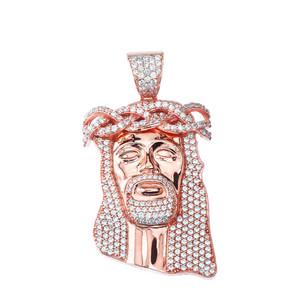 "Cubic Zirconia Jesus Pendant Necklace (2.29"") in Rose Gold"