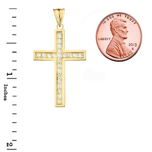 Mod-Chic CZ Cross Pendant Necklace in Gold (Yellow/Rose/White)