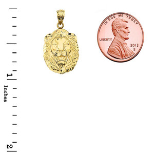 """Bold Lion Statement Pendant Necklace (0.97"""") in Yellow Gold"""