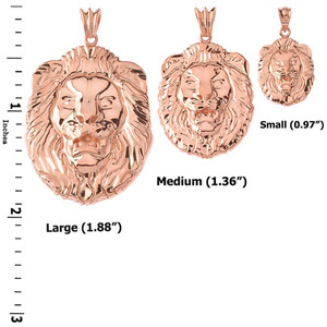 """Bold Lion Statement Pendant Necklace (0.97"""") in Rose Gold"""
