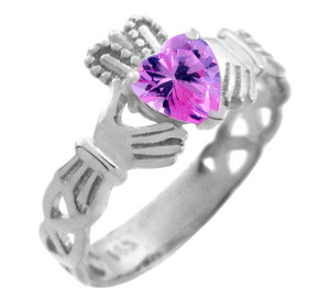 White Gold Claddagh Trinity Band with Pink CZ Heart