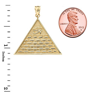 Eye of Horus Pyramid Pendant Necklace in Gold (Yellow/Rose/White)
