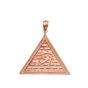 Egyptian Pyramid with Eye of Horus Pendant Necklace in Gold (Yellow/Rose/White)