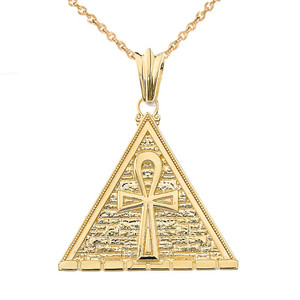 Bold Ankh Pyramid Pendant Necklace in Gold(Yellow/Rose/White)