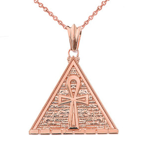 Bold Ankh Pyramid Pendant Necklace in Rose Gold