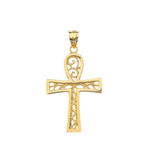 Filigree Ankh Cross Pendant Necklace in Gold (Yellow/Rose/White)