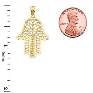 Filigree Hamsa Pendant Necklace in Yellow Gold