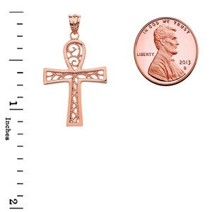 Filigree Ankh Cross Pendant Necklace in Rose Gold