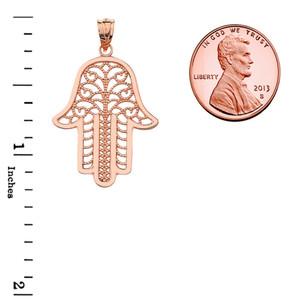 Filigree Hamsa Pendant Necklace in Rose Gold