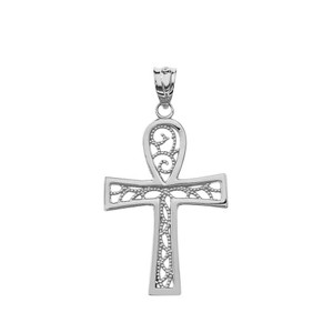Filigree Ankh Cross Pendant Necklace in White Gold
