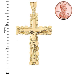Crucifix Nugget Cross Pendant Necklace in Gold (Yellow/Rose/White)