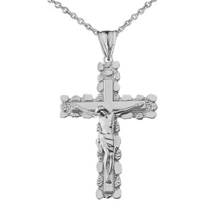 Crucifix Nugget Cross Pendant Necklace in White Gold