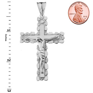 Crucifix Nugget Cross Pendant Necklace in Sterling Silver