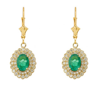 Genuine Emerald & Diamond Earrings  in Yellow Gold
