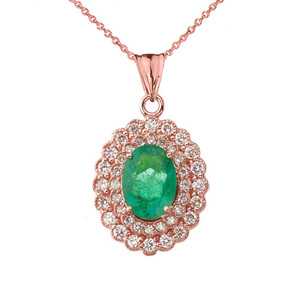 Genuine Emerald & Diamond Pendant Necklace in Rose Gold