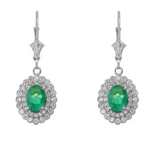 Genuine Emerald & Diamond Earrings in 14K White Gold