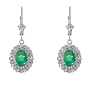 Genuine Emerald & Diamond Pendant Necklace Set in 14K White Gold