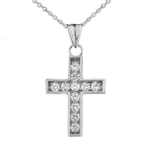 Dainty-Chic Diamond Cross Pendant Necklace in Gold (Yellow/Rose/White)