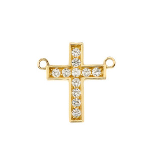 Dainty-Chic CZ Cross Necklace in 14K  Yellow Gold