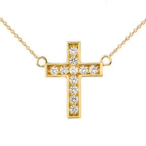 Dainty-Chic Diamond Cross Necklace in 14K  Yellow Gold