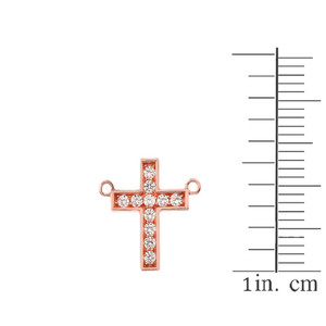 Dainty-Chic CZ Cross Necklace in 14K  Rose Gold