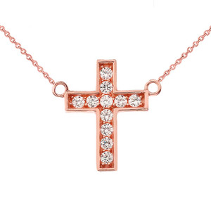 Dainty-Chic Diamond Cross Necklace in 14K  Rose Gold