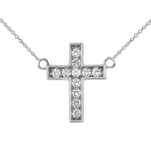 Dainty-Chic CZ Cross Necklace in 14K  White Gold