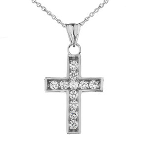 Dainty-Chic CZ Cross Pendant Necklace in Sterling Silver