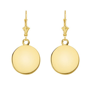 10K Solid Yellow Gold Simple Round Leverback Earrings
