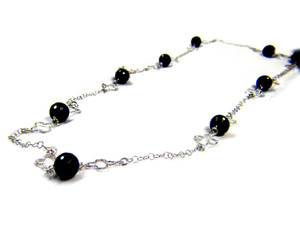 Gemstone Necklaces - Raven Beauty Black Onyx Long Necklace in Sterling Silver 42 Inch