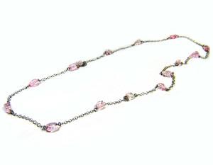 Gemstone Necklaces - Splendor Pink Quarz Long Necklace in Sterling Silver 40 Inch