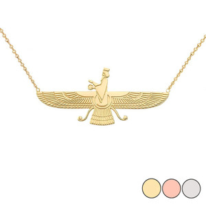 Dainty Faravahar Necklace in 14K Gold (Yellow/Rose/White)