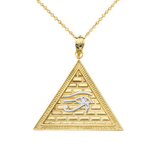 Egyptian Pyramid with Eye of Horus Pendant Necklace in Two-tone Yellow Gold