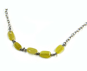 Gemstone Necklaces - Intrigue Peridot Quartz Long Necklace in Sterling Silver 46 Inch