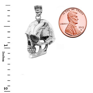 Sideways Skull Pendant Necklace in Sterling Silver