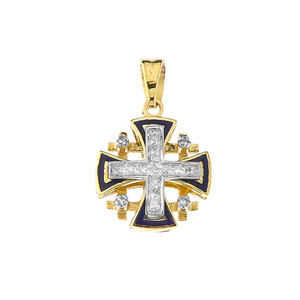 10K Diamond Jerusalem Cross Pendant Necklace In Yellow Gold  With Blue Enamel