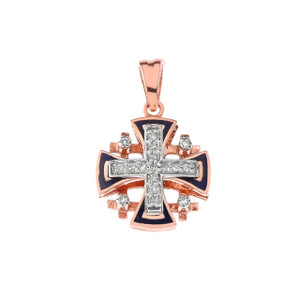 10K Diamond Jerusalem Cross Pendant Necklace with Blue Enamel in Gold (Yellow/Rose/White)