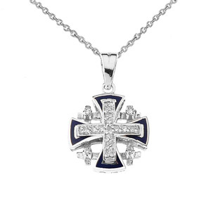 Diamond Jerusalem Cross Pendant Necklace In Sterling Silver With Blue Enamel