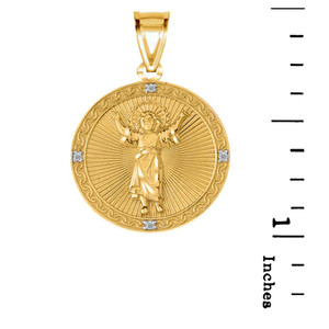 Diamond Divino Niño Jesus Round Medallion Pendant Necklace in Gold (Yellow/Rose/White)