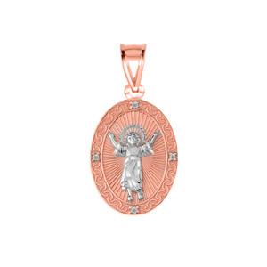 Diamond Divino Niño Jesus Oval Medallion Pendant Necklace in Two Tone Rose Gold