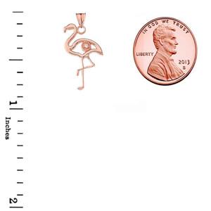 Diamond Flamingo Pendant Necklace in Gold (Yellow/Rose/White)