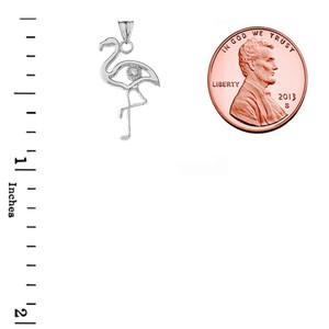 Diamond Flamingo Pendant Necklace in White Gold
